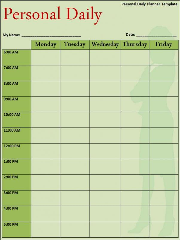 college class schedule template