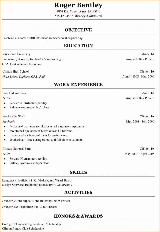 College Freshman Resume Template Template Business