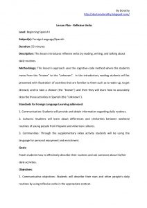 college lesson plan template reflexive verbs lesson plan
