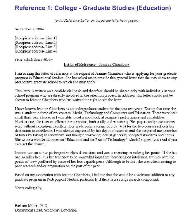 college letter of recommendation template