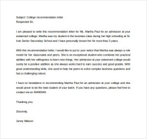 college letter of recommendation template sample college recommendation letter to download