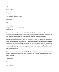 college recommendation letter sample business college recommendation letter