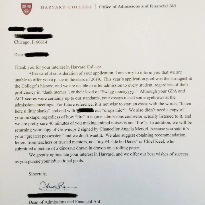 college rejection letter