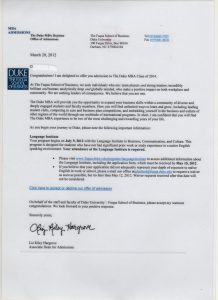 college rejection letter duke