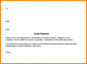 college resume sample example of a tender letter declining submit tender