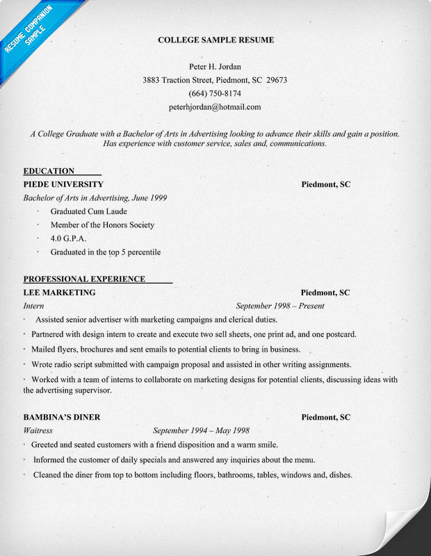 College Resume Samples  Template Business