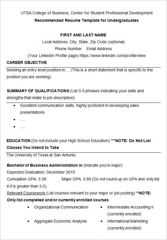 college resume samples - Job Resume Samples For College Students