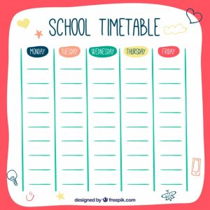 college schedule template hand drawn style school timetable template