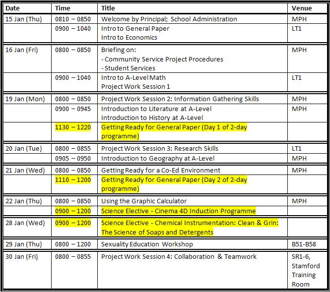 college schedule template