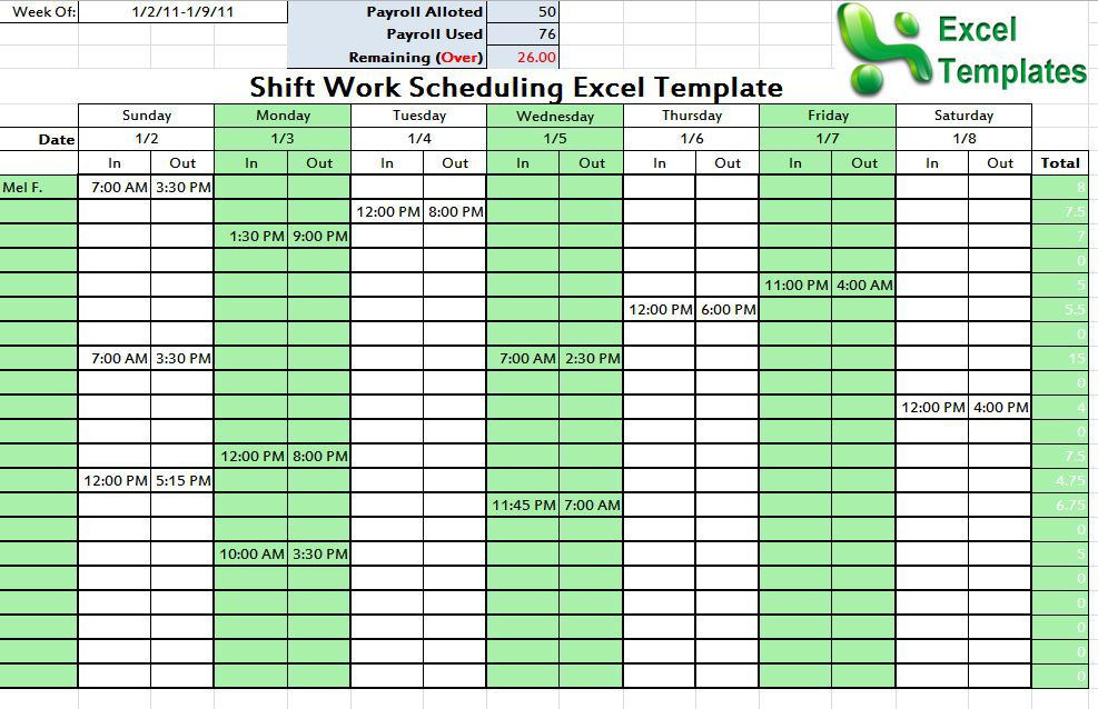 college schedule template template business