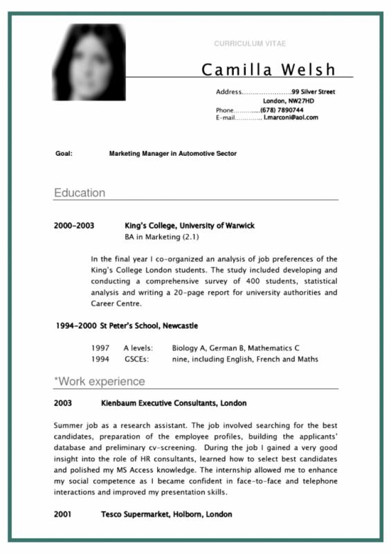 resume formats for college students