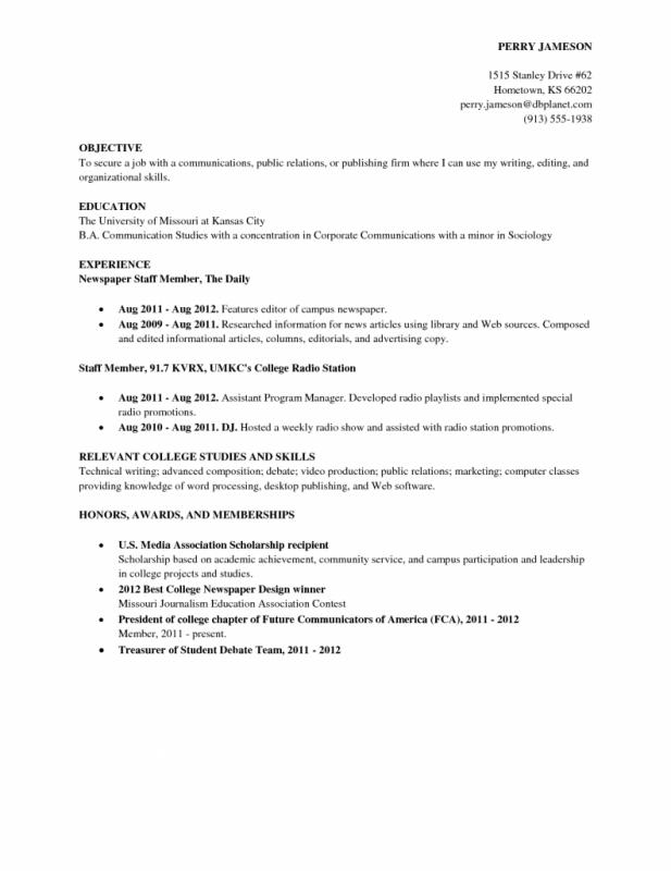 College Student Resume Outline  Resume For Freshman In College