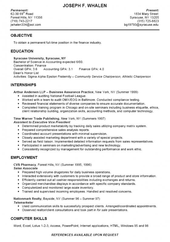 college student resume outline