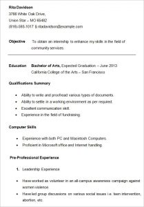 college student resume outline college student resume template