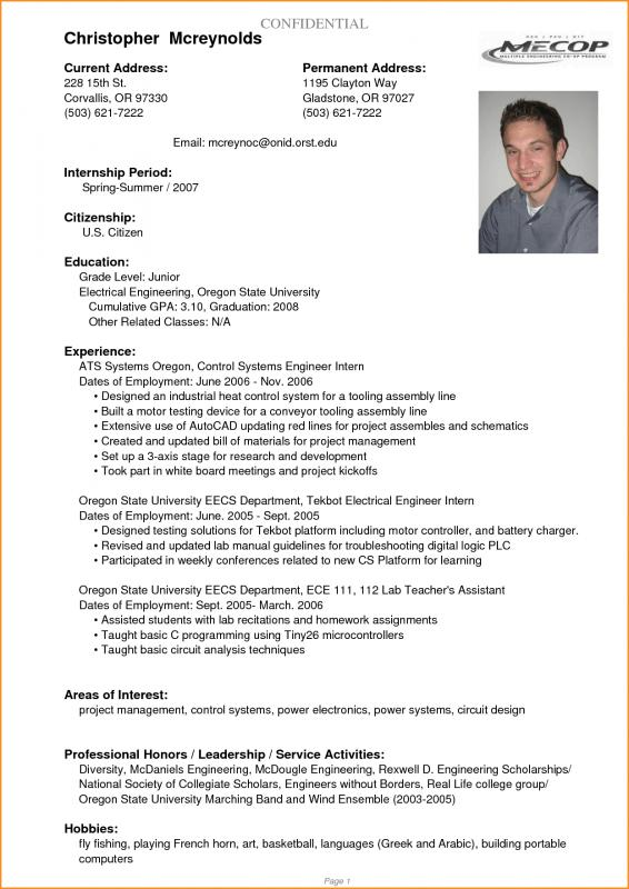 College Student Resume Outline Template Business