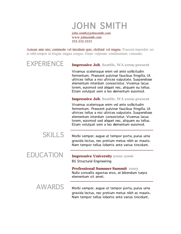 college student resume templates microsoft word