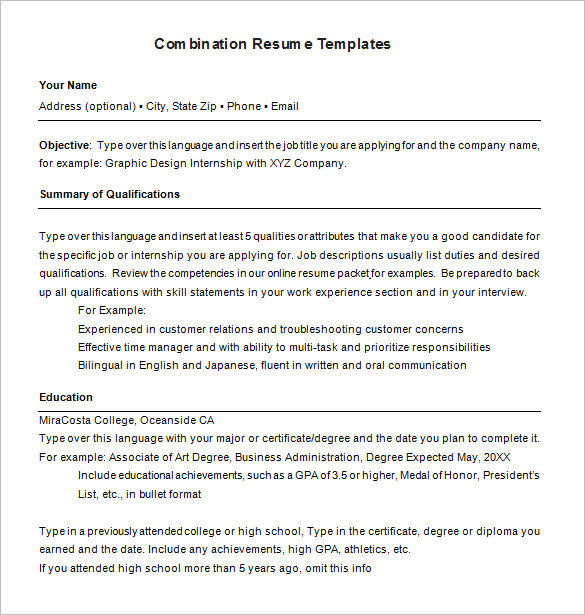 combination resume template