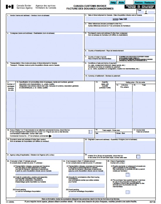 Commercial Invoice Form  Template Business