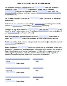 commercial lease agreement template word nevada sublease agreement form pdf