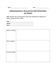 common core lesson plan template asking questions stop and jot with sticky notes