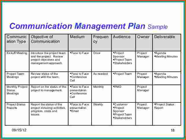 Communication Plan Example Template Business