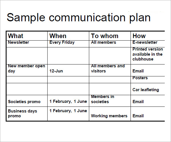 Communication Plan Template  Template Business