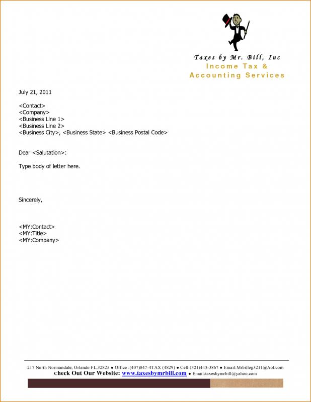 Company Letterhead Example Template Business