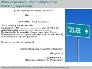 company letterhead sample catering supervisor experience letter