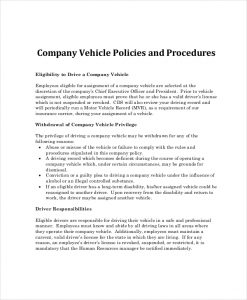 company policy template company car policy template