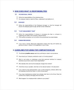company policy template company vehicle policy template
