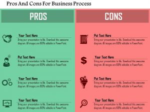 comparison chart templates pros and cons for business process flat powerpoint design slide