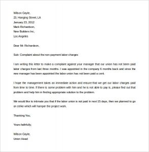 complain letters samples download labor complaint letter template in word