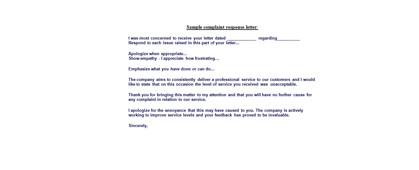 Complain Letters Samples Template Business