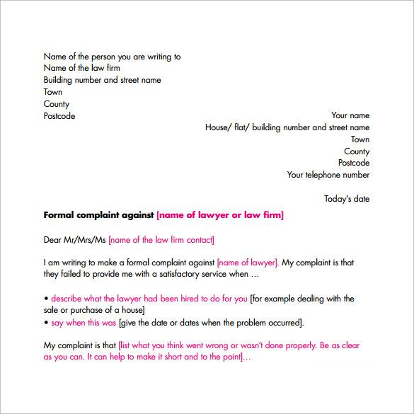 formal complaint letter format