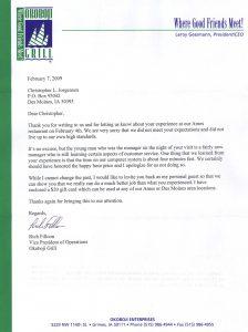 complaint letter formats okoboji grill