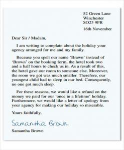 complaint letter formats restaurant poor service complaint letter