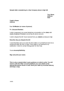 complaint letter formats sample letter complaining to gas company about a high bill uk