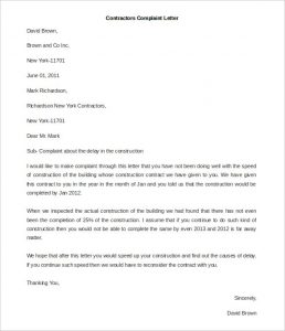 complaint letters sample contractors complaint letter template free word format