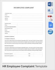 complaints forms templates hr employee complaint template