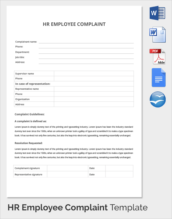 Complaints Forms Templates  Employee Forms Templates