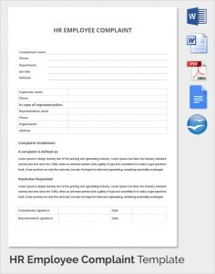 complaints letter sample hr employee complaint template