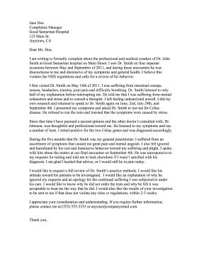complaints letter samples