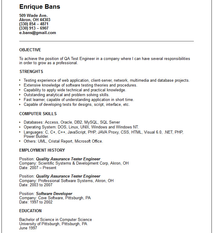 computer engineer resumes