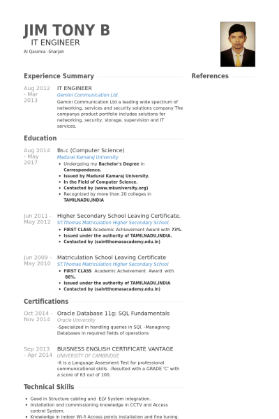 computer science resume example - Resume Examples Science Field