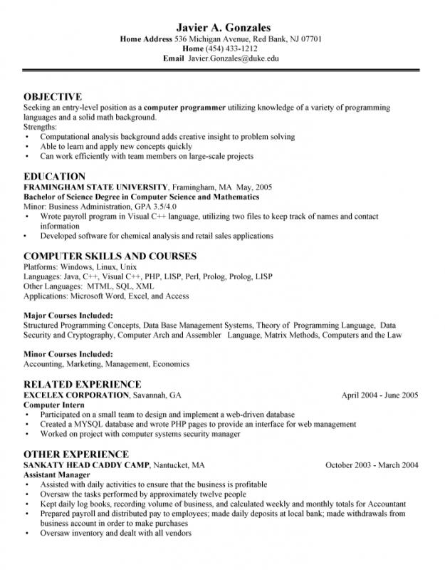 computer science resume template - Computer Science Resume Sample