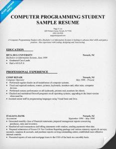 computer science resumes computer programming student resume sample