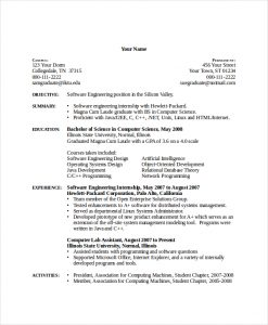 computer science resumes computer science internship resume