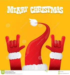 concert poster template santa claus rock n roll icon vector illustration hand christmas concert poster design template greeting card