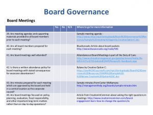 conference agenda template board governance nonprofit best practice checklist