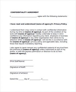 confidentiality agreement form confidentiality agreement form sample